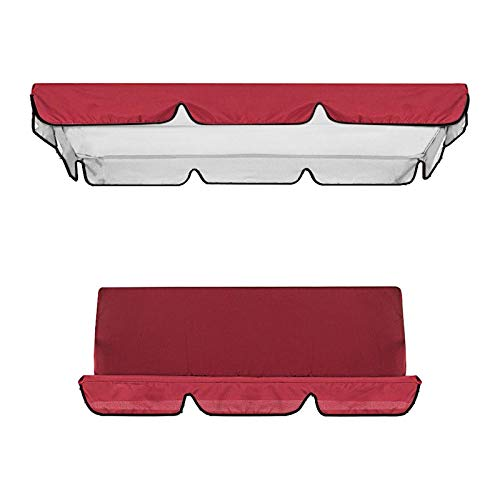 Patio Swing Canopy and Cushion Cover Set, 3 Seat Swing Replacement Cushions Cover and Canopy Replacement Top Cover for Patio Garden Yard (Red, 164x114x15)