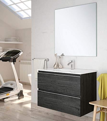 Aquareforma   Mueble de Baño con Lavabo y Espejo   Mueble Baño Modelo Sundee 2 Cajones Suspendido   Muebles de Baño   Diferentes Acabados Color   Varias Medidas (Ebony, 70 cm)