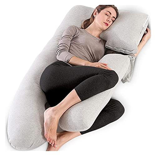 Almohada de embarazo en el hogar, almohada de matrimonio de cuerpo completo para mujeres embarazadas Comfort 2 en 1 U en forma de almohada con cubierta de jersey lavable extraíble (55 x 28 pulgadas)