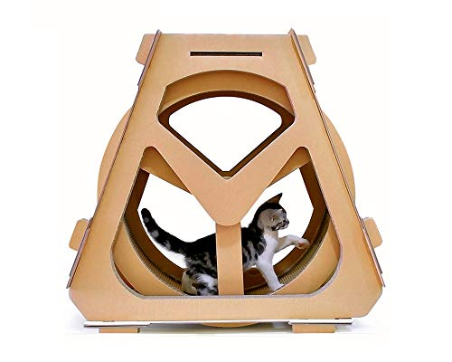 Sports Treadmill Ferris Wheel Pet Furniture Cat Scratch Board Catch The Climbing Wheel Rolling Solid Color Simple Cat Tree,Standard