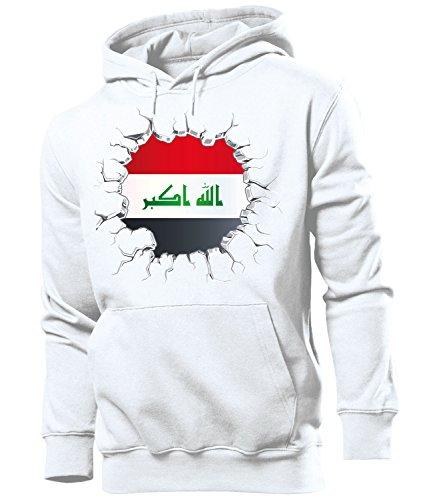love-all-my-shirts Fussball Fanhoodie Irak 5723 Männer Herren Hoodie Pulli Kapuzen Pullover Fanartikel Weiss S