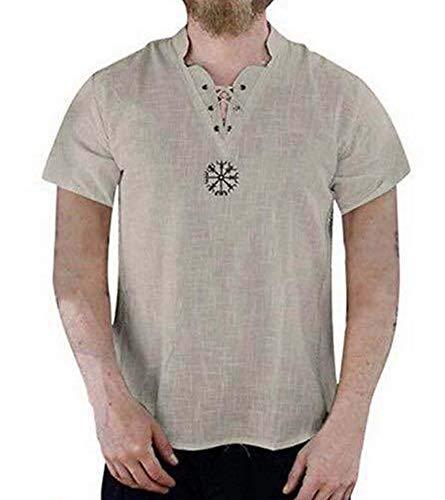 Mannen middeleeuwse linnen tuniek V-hals Shirt Hippie Grandad Shirt Pirate Shirt kostuum