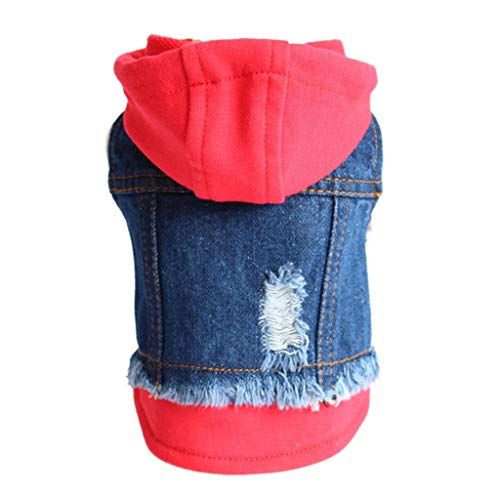 VOVOL Jeansjacke für Hunde und Katzen, Jeansjacke, für kleine Welpen, Blau
