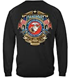 US Marine Corps Long Sleeve T-Shirts, 100% Cotton Casual Mens Shirts, Show Your Pride with Our Badge of Honor Marine Corps Unisex Long Sleeve Shirts for Men or Women (XX-Large) Black
