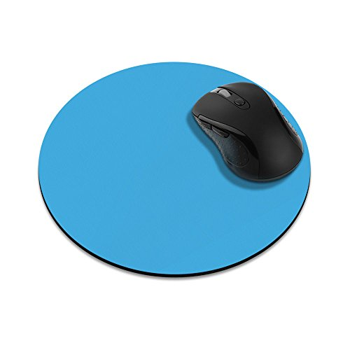 Non-Slip Round Mousepad, FINCIBO Solid Baby Blue Mouse Pad for Home, Office and Gaming Desk