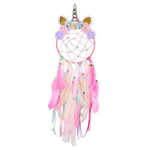 Basumee Kinder Traumfänger Einhorn Dreamcatcher Handgemachter Einhornform Traumfänger fur Kinderzimmer Deko 20x72 cm aus Metallring und Feder…
