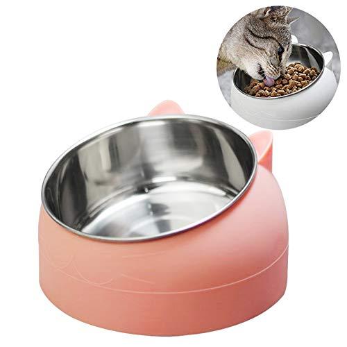 TaimeiMao katzennapf Set,Futternäpfe Katzenfutter, Katzennäpf Edelstahl rutschfest,FutternapfKatze,Futterschüssel Katze,Hundenapf Schräg,katzenschüssel Set für Katze Welpe Futter und Wass (Rosa)