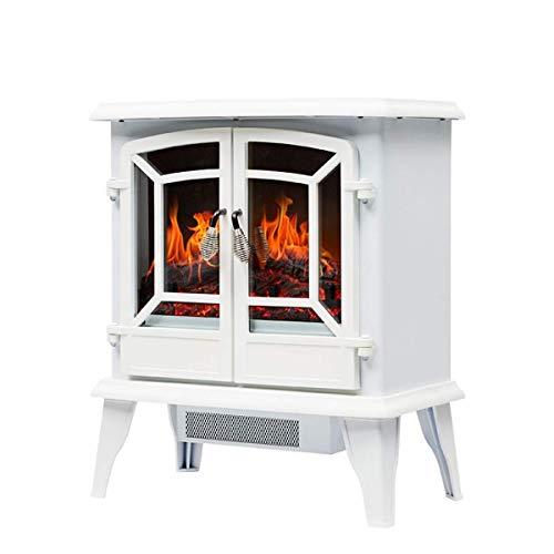 Yxxc Calentador, Fuego eléctrico con repisa de Chimenea Envolvente Efecto de Llama LED Realista Estufa eléctrica Calefacción Calefacción Interna Calefacción 1400W Blanco