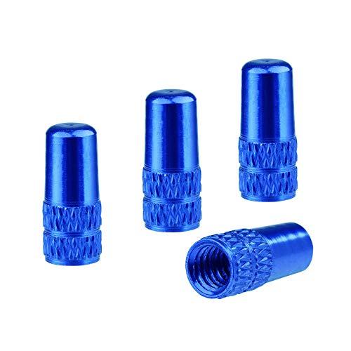 WEAVERBIRD 4X Presta Ventilkappen Aluminiumlegierung Fahrrad Ventil Kappe Staub Bezüge Reifenkappen Staubabdeckungen für Fahrrad, Rennrad oder Mountainbike, Blau