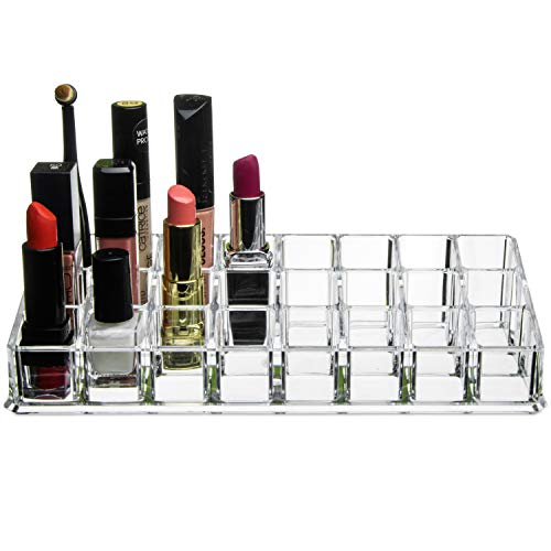 Kryllic Lipstick Holder Makeup Lipstick Lipgloss Organizer - Multi Level 24 Slot Clear Plastic Make up Organizers for Brushes Lip Gloss Perfume Storage! Cosmetic containers for Mascara Great Vanity Tray!