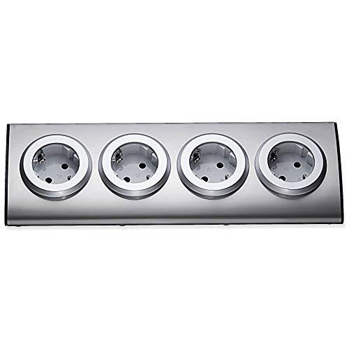 Multipresa per cucina e ufficio – 4 prese angolari in acciaio inox adatto anche come presa angolare – Presa da tavolo sottopiano – Ciabatta multipresa