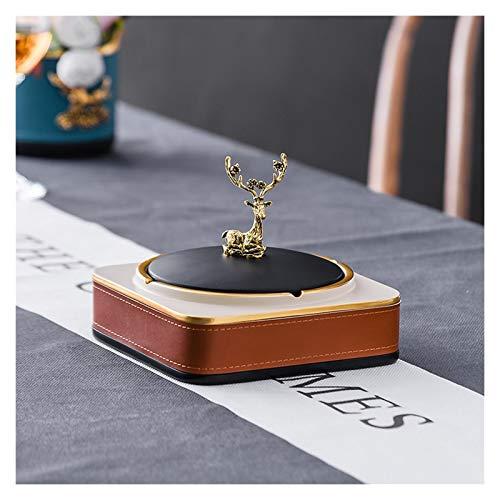 Cenicero Metal de cuero de resina de cenicero con tapa a prueba de viento Cenicero de escritorio creativo a prueba de viento Adecuado para sala de estar, oficina, hotel, restaurante, etc. Cenicero al