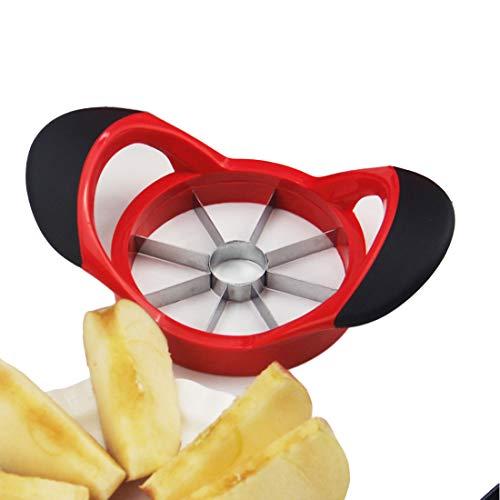Beylos Easy Grip Apple Corer Slicer-Divider-Cutter-Wedger, Ergonomic Rubber Grip Handle, 8-Blades(Red Black)