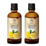 Aceite de Limón 2x100ml - Limón Cítrico - Italia - 100% Puro para Buen Sueño - Cuidado Corporal - Belleza - Relajación - Aromaterapia - Difusor de Aroma - Lámpara de Aroma