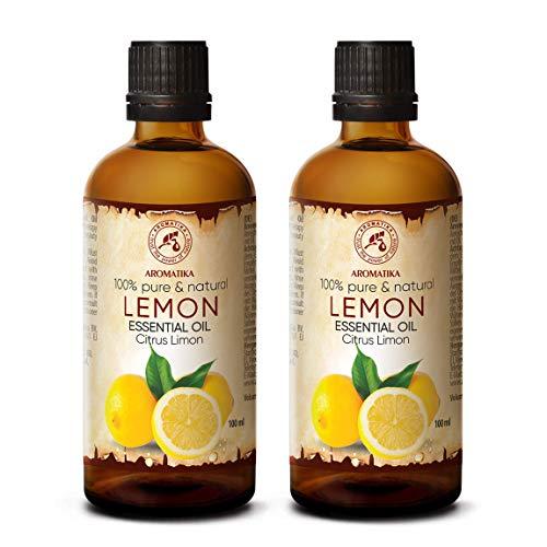 Olio di Limone 200ml - 2x100ml - Citrus Limon - Italia - Olio di Limone 100% Puro - Cura del Corpo - Benessere - Bellezza - Rilassamento - Aromaterapia - Diffusore di aromi - Lampada dell'aroma