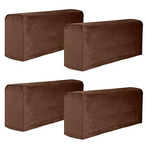 HUNOL Samt Sofa Armkappen Elastische, Armlehnen Abdeckung Stretch Armlehnenbezüge Abwaschbar Armlehnenschoner für Sessel Weich Möbel Beschützer für Wohnzimmer-Kaffee-4 Stck