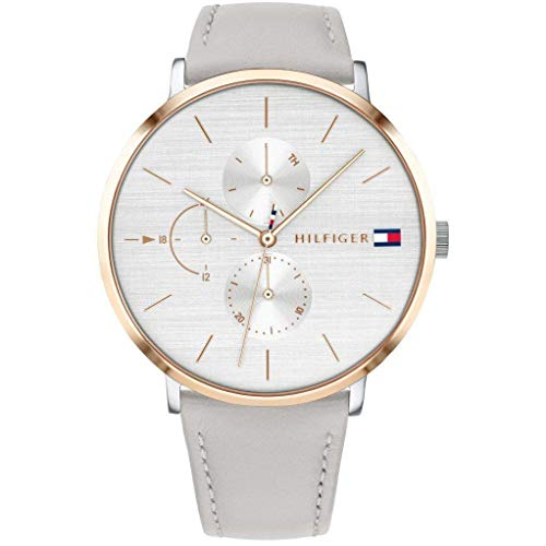 Tommy Hilfiger Damen Multi Zifferblatt Quarz Uhr mit Leder Armband 1781946