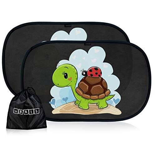 parasole auto ubris Tendine parasole auto per bambini e neonati - Parasole bambini accessori auto - Protezione ottimale raggi UV 80g/m²- 2 pezzi 51 * 31cm - Nere oscuranti con animali