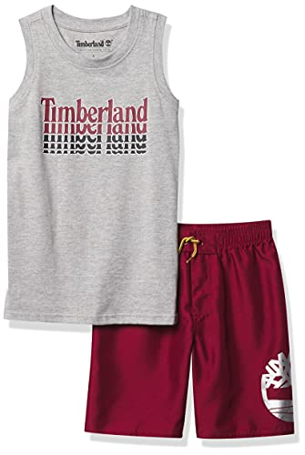 Timberland Baby Boys' 2 Pieces Muscle Top Shorts Set, Heather Mist/Biking red, 24M