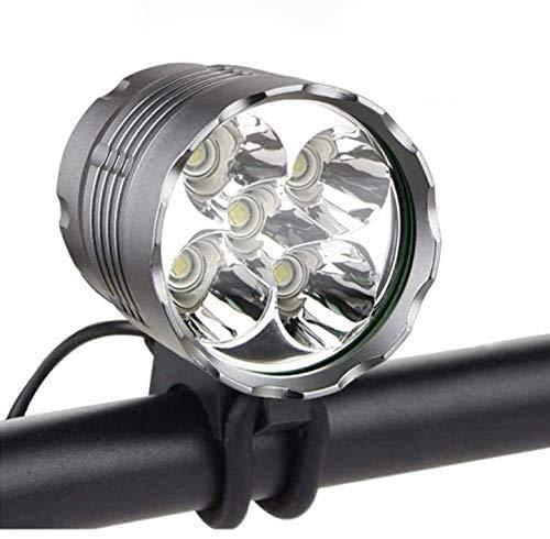 Fahrradlicht, 6000 Lumen, 5 LEDs, Fahrradscheinwerfer, wasserdicht, Mountainbike-Frontlicht, Stirnlampe mit 6400 mAh wiederaufladbarem Akku