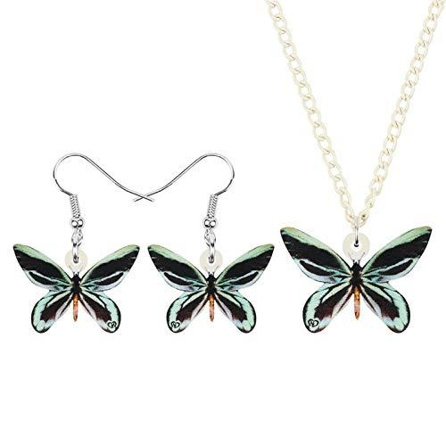 chushi Acrílico Queen Atlanta's Bird Wing Butterfly Joyas Set Insecto Animal Pendiente Necklace Regalo Clásico For Amigas Zzib (Color : Green)