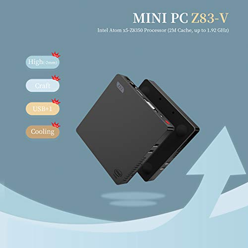 SeeKool Z83-V Mini PC Computer, Windows 10 4Go RAM 64 Go ROM, Intel Atom x5-Z8350 Processeur, 4K HD Graphiques 400, Ports HDMI et VGA, Ethernet 1000Mbps, Wi-FI 2.4 GHz / 5.8 GHz, BT 4.0 /USB 3.0