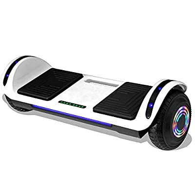 Longtime Kids Hoverboard Self Balancing Scooter with LED Lights Flashing Wheels - UL Certified (White)