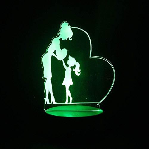 Madre Niña Corazón 3D Lámpara de ilusión LED Luz nocturna Mesita de noche óptica Luces nocturnas 16 Cambio de color Botón táctil Decoración Lámparas de escritorio,