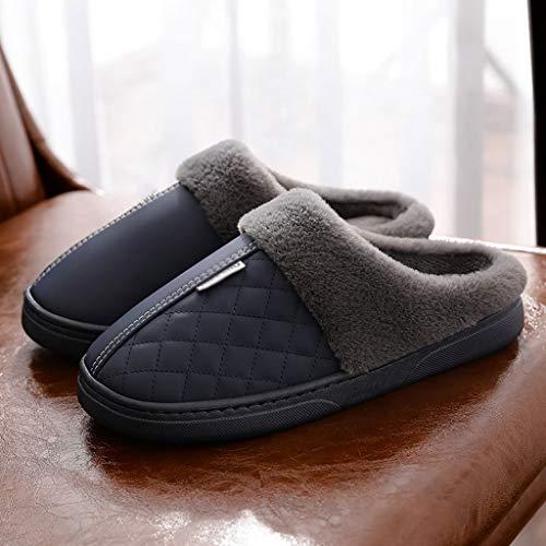 AYDQC Hombres y Mujeres Zapatillas de Cuero Pareja de Invierno Zapatillas de algodón Femenino PU Impermeable para Hombres hogar Zapatos cálidos Zapatos de Piel de Invierno