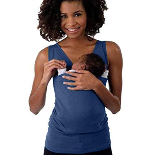 Loalirando Camiseta de Canguro Mujer Fular Portabebés Lactancia sin Mangas Camisas Padre/Madre para Bebé