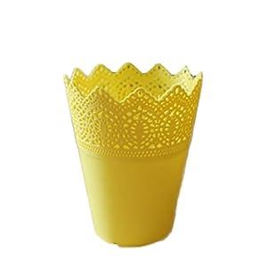 Nikgic nikgic florero plástico simple del color sólido, Tiesto EXQUISITO 7*10*14cm Amarillo