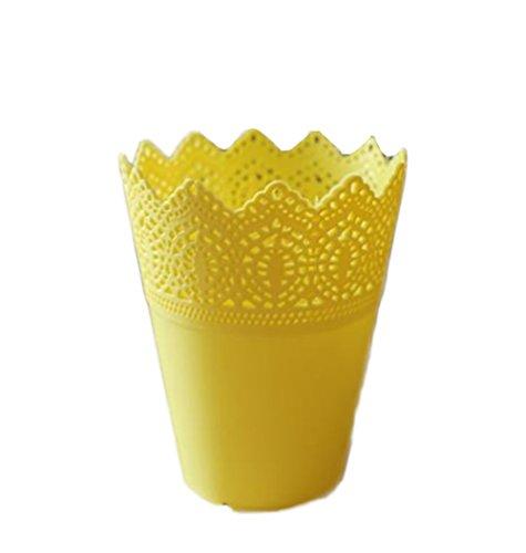 CAOLATOR Jarrón de Plástico Multifunción Jarrón de Flor de Simulación para el Organizador de la Decoración (Amarillo)