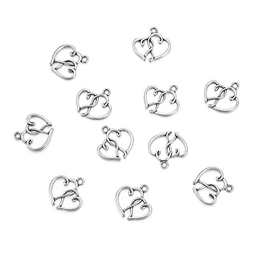 Craftdady 20 Pieces Antique Silver Double Linked Heart Charms Heart to Heart Pendants Favor Invitation Decoration, Cadmium Free & Nickel Free & Lead Free, 20x19x2mm, Hole: 2mm