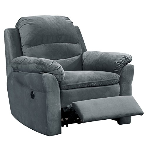 AC Pacific Felix Collection Contemporary Style Fabric Upholstered Living Room Electric Recliner Power Chair with Gentle Lumbar Massage, Dark Grey (FELIX-7023-8-PRC)