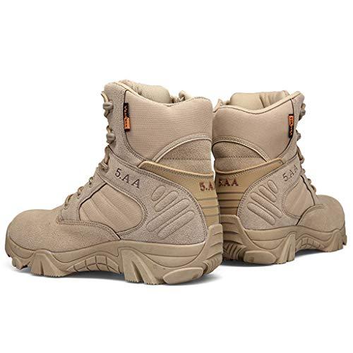 GYPING Botas de Combate Militares de Cuero de caña Alta para Hombre Botas tácticas cálidas del Desierto Zapatos de Entrenamiento Montañismo al Aire Libre Off-Road, Sand- 47(12.5