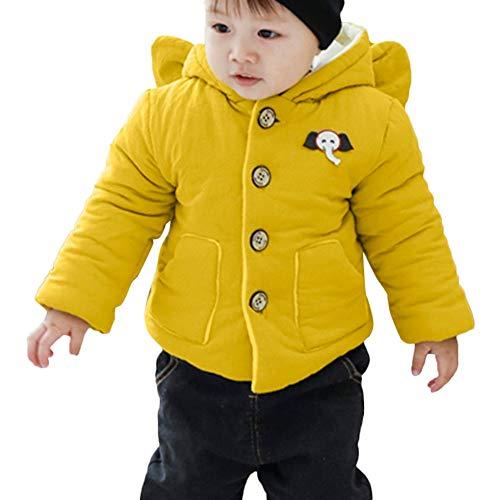 Goosuny Goosuny Baby Gefütterte Winterjacke Mit Elefant Kapuze Wintermantel Winterjacke Mädchen Junge Neugeborenes Verdickte Baumwolljacke Trenchcoat Warm Winddicht Outerwear (Gelb,80)