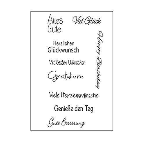 WuLi77 Silikonstempel, Deutsche Phrase Clear Stamps - DIY Stempel Für DIY Album Scrapbooking Photo Card Decor