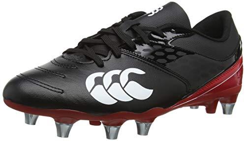 Canterbury of New Zealand Phoenix Raze Soft Ground Zapatillas de rugby Hombre, Negro (Black/ True Red 989), 43 EU
