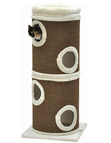 nanook Katzen-Kratztonne Gizmo XXL - braun/beige - mit Katzenbett - 123 x 46 x 46 cm für große Katzen