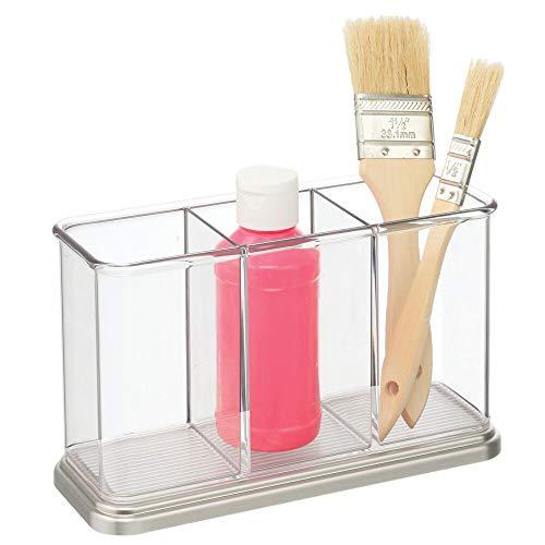 mDesign Práctico portalápices para material de manualidades y bellas artes – Decorativa caja para guardar pinturas – Organizador de escritorio con 3 compartimentos – transparente y plateado