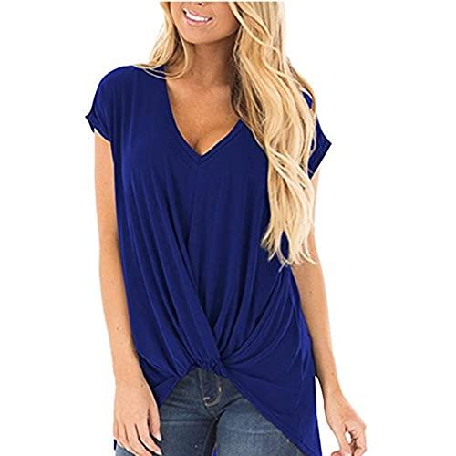 Damen T-Shirt Kurzarm V Ausschnitt Sommershirt Casual Elegante Knopfleiste Tunika Sommer Basic Top Bluse Kreuz Wickeln Oberteil Lose Shirt