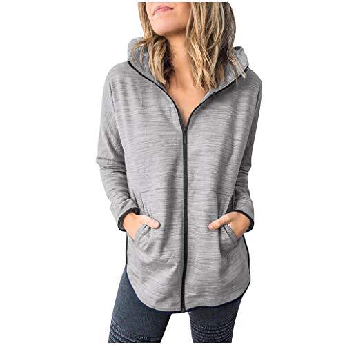 GOKOMO Kapuzenmantel Jacke Damen Coat Mantel Mit Kapuze Sweatjacke Hochwertig Verarbeitet Kuschelig Warmer Pullover(Grau,X-Large)