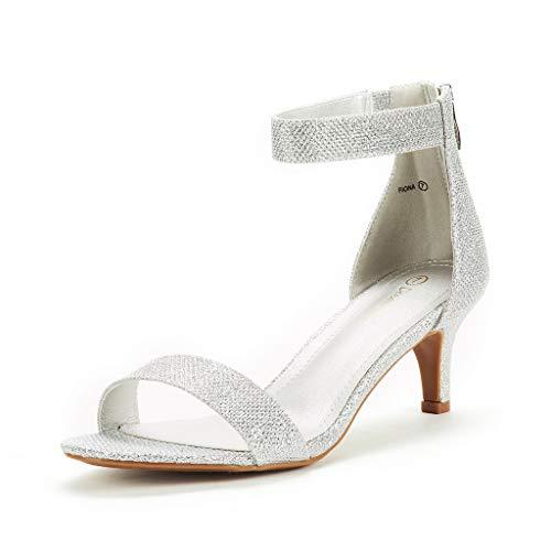DREAM PAIRS Women's Fiona Silver Glitter Fashion Stilettos Open Toe Pump Heeled Sandals Size 9.5 B(M) US