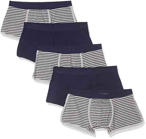 Marchio Amazon - find. Slip Uomo, Pacco da 3/Pacco da 5/Pacco da 7, Multicolore (Navy & Grey Stripes/Navy), L, Label: L