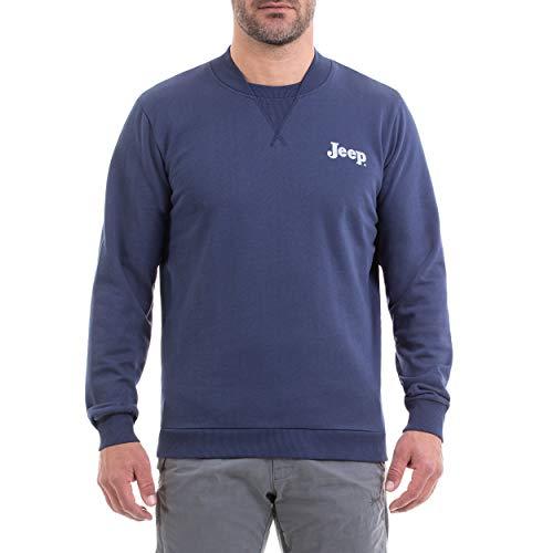 Jeep Girocollo Invernale con Collo Taglio Bomber E Stampa Logo Vintage Camiseta, Hombre, Mood Indigo/Light Gr, L