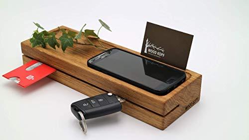 Woodkopf Schlüsselbrett, Schlüsselleiste,Schlüsselhalter, Holz in Eiche mit Ablagemulde für Smartphone