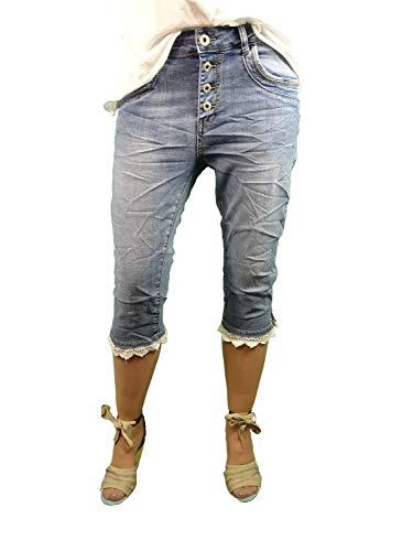 Karostar by Lexxury | Baggy Boyfriend Bermuda Capri broek | Korte jeans broek voor vrouwen open knoopsluiting | met witte kant | perfecte pasvorm | Zomerbroek met zijgleuf