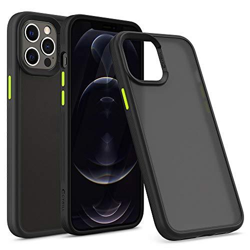 CYRILL de Spigen Color Brick Funda Compatible con iPhone 12 Pro MAX, TPU Suave con PC Semitransparente - Negro