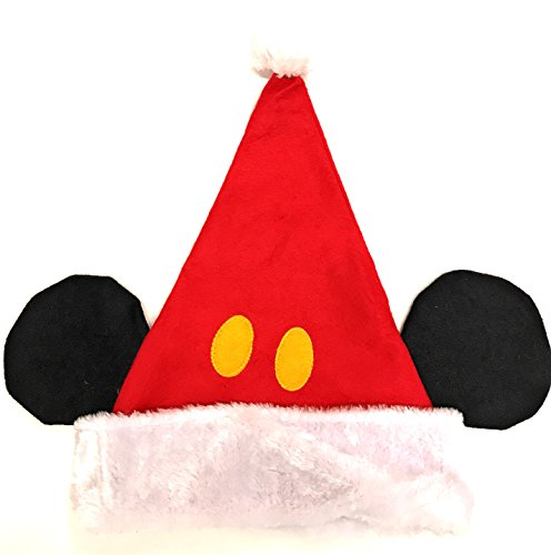 Ruz Disney Mickey Mouse Childs Plush Red Santa Hat With Ears