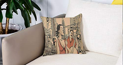 Square Soft and Cozy Pillow Covers,Jazz Music, un cantante de jazz con contrabajo en una calle del estilo de vida urbano de Nueva ,Funda para Decorar Sofá Dormitorio Decoración Funda de almohada.